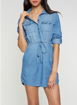 Drawstring Waist Denim Shirt Dress - 1076071316278