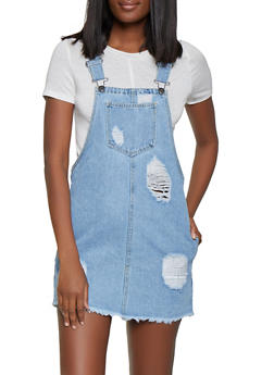 Highway Destruction Denim Overall Dress - 1076071316321