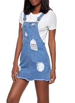 Highway Destruction Denim Overall Dress - 1076071316321