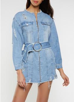 Highway Zip Front Denim Dress - 1076071317322