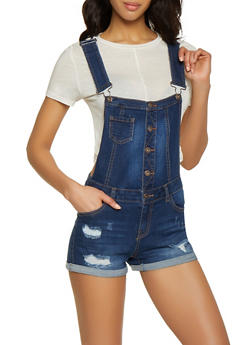 WAX Button Front Bib Shortalls - 1076071610148