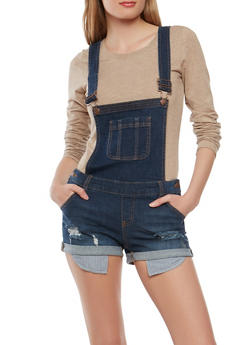 WAX Distressed Denim Shortalls - 1076071619078