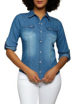 Denim Button Front Shirt - 1077051062790