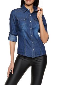 Dark Wash Button Front Denim Shirt - 1077051062791