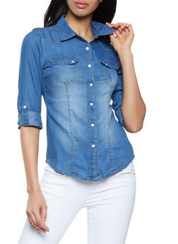 Snap Button Front Chambray Shirt - 1077051063489