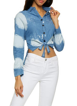 Bleached Tie Front Chambray Shirt - 1077063401351