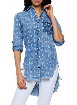 Dollar Sign Print Denim High Low Shirt - 1077063401436