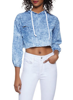Distressed Chambray Cropped Sweatshirt - 1077063401681