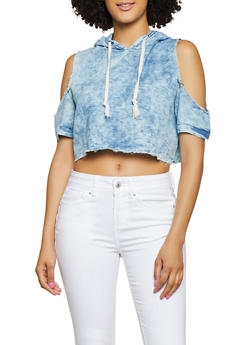 Hooded Denim Crop Top - 1077063402113