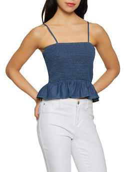 Smocked Chambray Peplum Top - 1077069393134