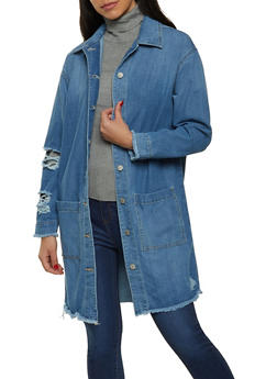 Highway Frayed Denim Duster - 1077071316430