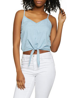 Tie Front Chambray Cami - 1077071318352