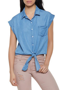 Highway Jeans Tie Button Front Shirt - 1077071318458