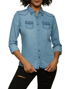 Highway Tabbed Sleeve Denim Shirt - 1077071319180