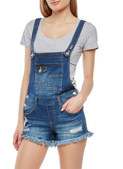 Almost Famous Frayed Denim Shortalls - 1078015990061