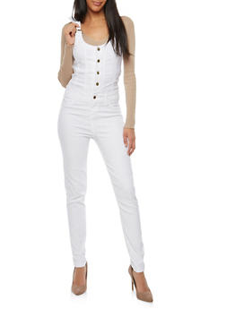Gold Button Push Up Overalls - 1078056574537