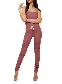 Strapless Ruched Leg Jumpsuit - 1078056575244