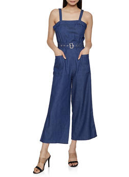 Wide Leg Belted Chambray Jumpsuit - 1078062707113
