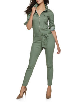 Solid Zip Front Jumpsuit - 1078065300100