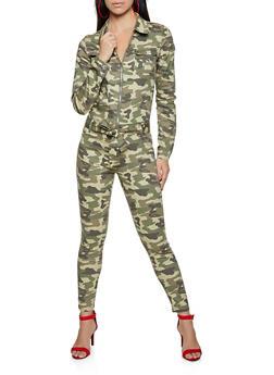 Camo Zip Front Jumpsuit - 1078065300104