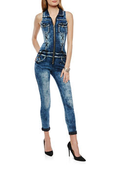 VIP Zip Front Denim Jumpsuit - 1078065300152