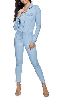 VIP Collared Zip Front Denim Jumpsuit - 1078065300158