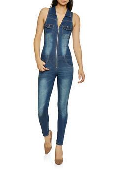 VIP Denim Zip Front Jumpsuit - 1078065302665