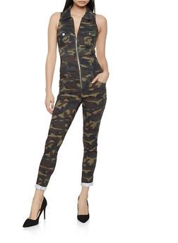 Camo Zip Front Jumpsuit - 1078065302669