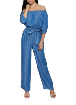 Chambray Belted Off the Shoulder Jumpsuit - 1078069390750