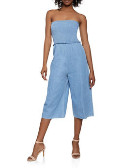Cropped Denim Tube Jumpsuit - 1078069397371