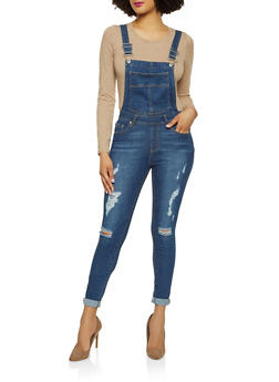 Highway Frayed Denim Overalls - 1078071312756