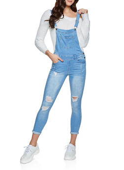 WAX Distressed Denim Overalls - 1078071612222