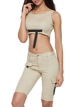 Cargo Bermuda Shorts and Crop Top Set - KHAKI - 1078072290001