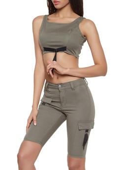 Cargo Bermuda Shorts and Crop Top Set - OLIVE - 1078072290001