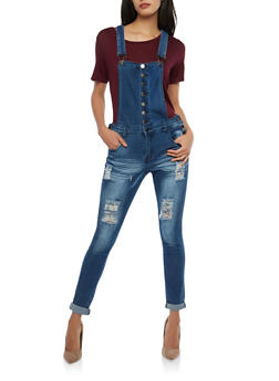 Destroyed Button Front Denim Overalls - 1078072290037