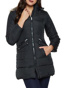 Faux Fur Hood Long Puffer Jacket - 1084051064427