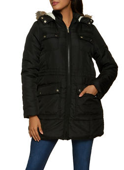 Sherpa Lined Hooded Puffer Coat - 1084051067744