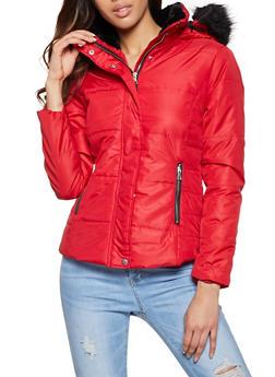 Faux Fur Trim Puffer Jacket - 1084054261512