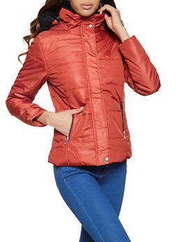 Faux Fur Trim Puffer Jacket - 1084054261512