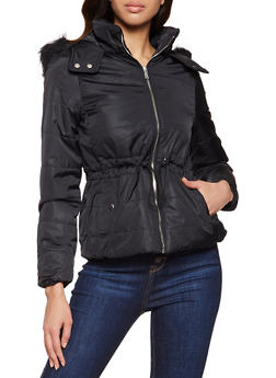 Drawstring Waist Hooded Puffer Jacket - 1084054261514