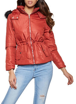 Drawstring Waist Hooded Puffer Jacket - 1084054261514
