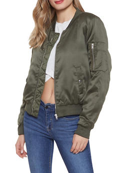 Zip Front Satin Bomber Jacket - 1084054268730