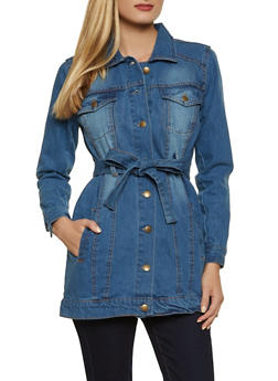 Tie Waist Denim Jacket - 1086038340111