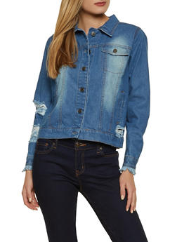 Distressed Faded Denim Jacket - 1086038340112