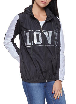 Love Graphic Hooded Windbreaker - BLACK - 1086038342788