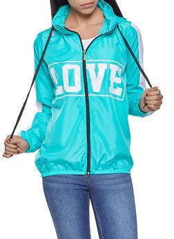 Love Graphic Hooded Windbreaker - TEAL - 1086038342788