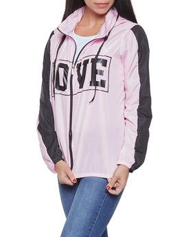 Love Graphic Hooded Windbreaker - PINK - 1086038342788