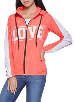 Love Graphic Hooded Windbreaker - CORAL - 1086038342788