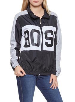 Boss Graphic Color Block Windbreaker - BLACK - 1086038342790