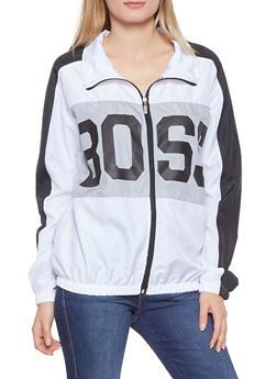 Boss Graphic Color Block Windbreaker - WHITE - 1086038342790